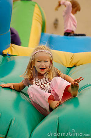 Child on jumping castle
