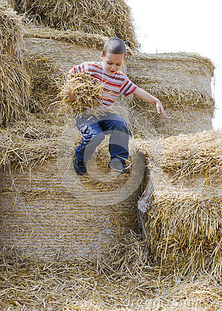Free Child Jumping In Haystack Stock Images - 58292524