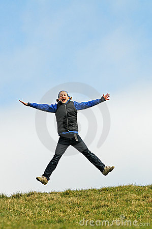 Child jumping for joy