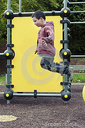 Child jumping at playground