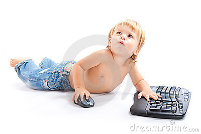 Child with keyboard and mouse