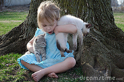 child and kittens