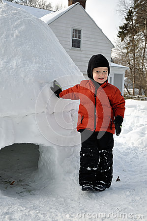 Child Leaning on an Igloo