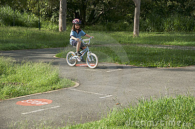 Child learning road rules