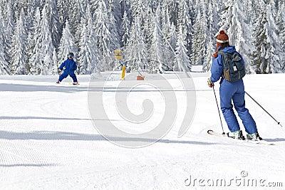 Child learning to ski