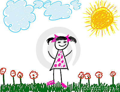 Child like drawing of girl