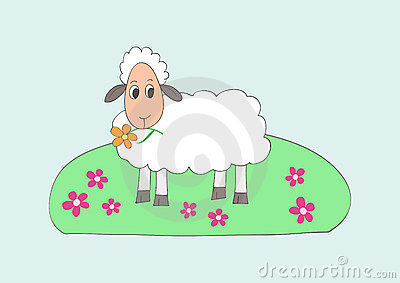 Child like drawing of little sweet sheep