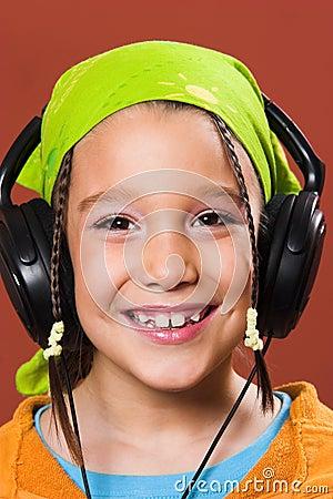 Child listening music