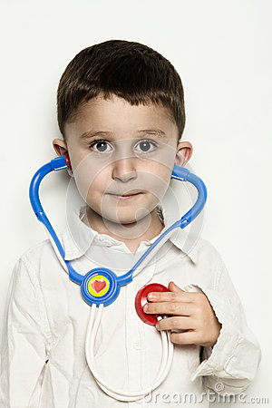 Child Listening to Heartbeat with a Stethoscope