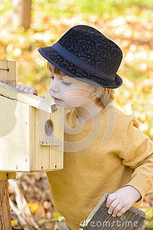 Free Child Looking Curious At One Birds House Stock Image - 35208661