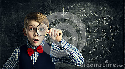Child Magnifying Glass, Amazed School Kid, Student Boy with Magn Stock Photo