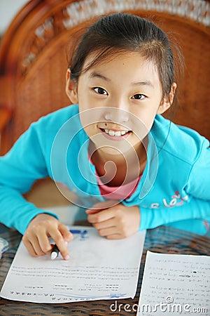 Child make homework