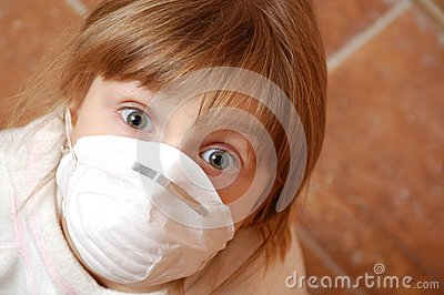 Child with medical mask
