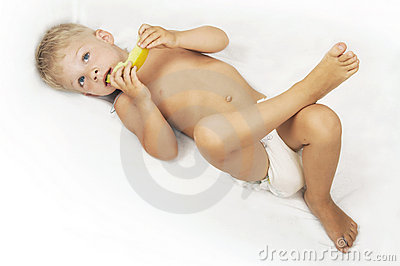 Child with melon