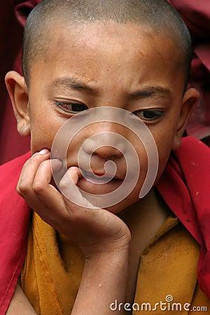 CHILD IN MONASTERY OF LADAKH Editorial Stock Image