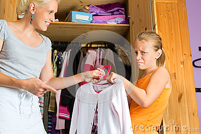 Child and mother in front of closet