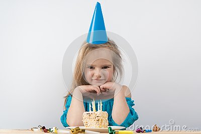 Child notes. birthday cake candles Stock Photo