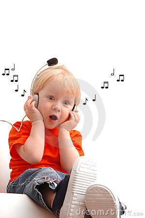 Free Child Of 2 Years Listening Music Stock Images - 9469334