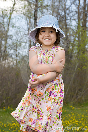 Child Outside Wearing Summer Dress