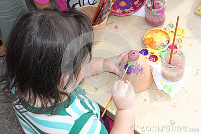 Child painting Editorial Image