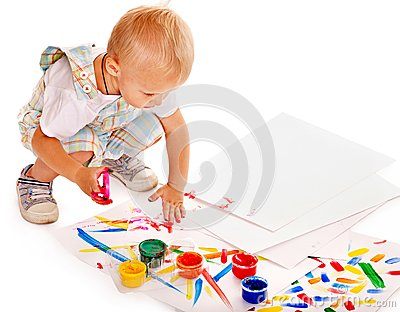 Child painting by finger paint.