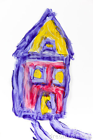 Child painting of a house