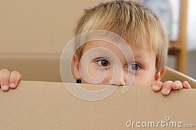 Child in paper box