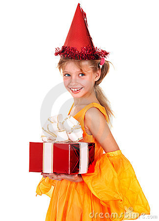 Child in party hat holding gift box.