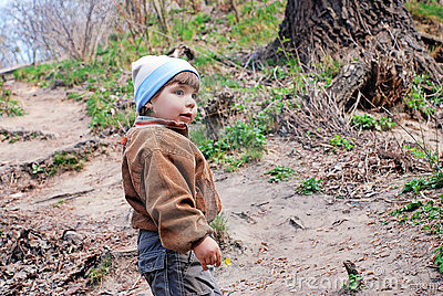 Child on a path in-field