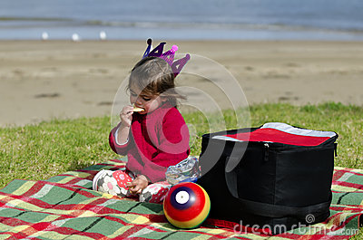 Child on a picnic