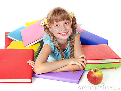 Child with pile of books and apple.