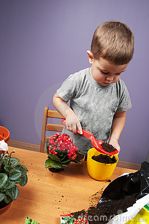 Child and plants