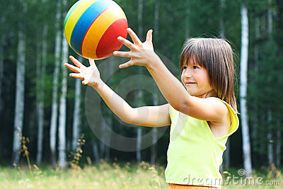 The child play with a ball
