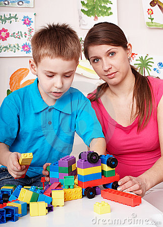 Child play construction set in games room.