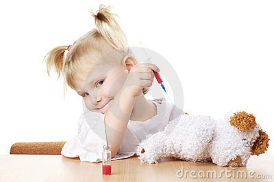 Child playing as a doctor