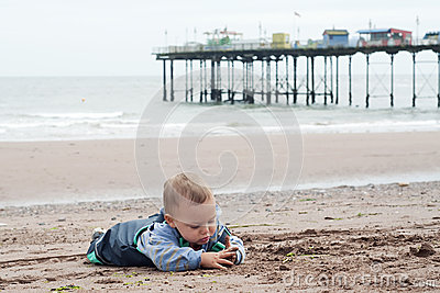 Child playing beach