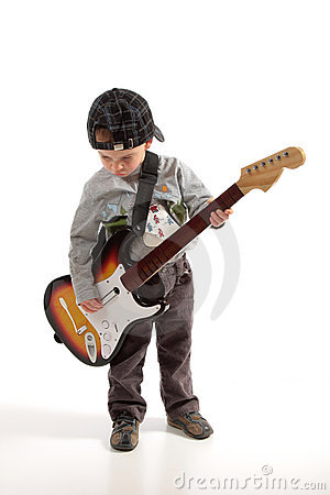 Child playing guitar