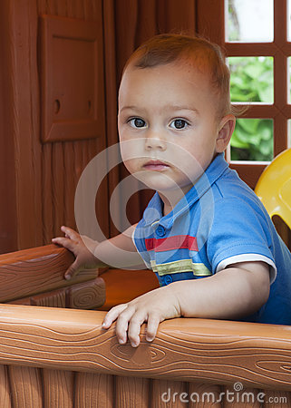 Free Child Playing In Playhouse Royalty Free Stock Photos - 28929638