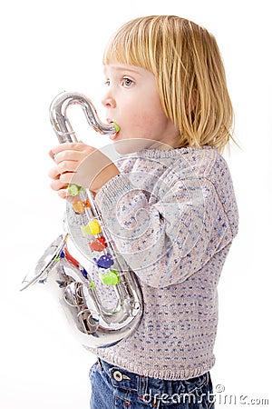 Free Child Playing Music On Saxophone Royalty Free Stock Image - 11997756