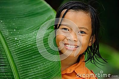 Child Playing in Rain