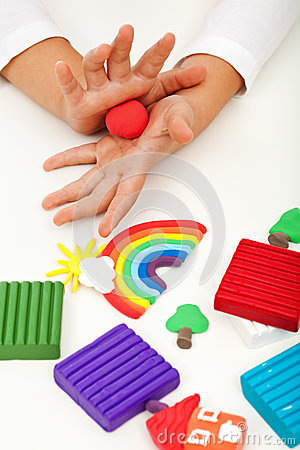 Free Child Playing With Colorful Clay - Closeup On Hands Royalty Free Stock Images - 35678399