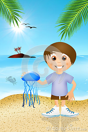 Child plays with jellyfish