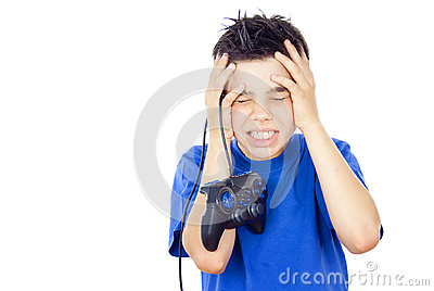 Child plays on the joystick