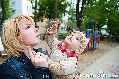 Child pointing finger