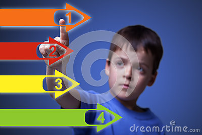 Child pointing to colorful arrows