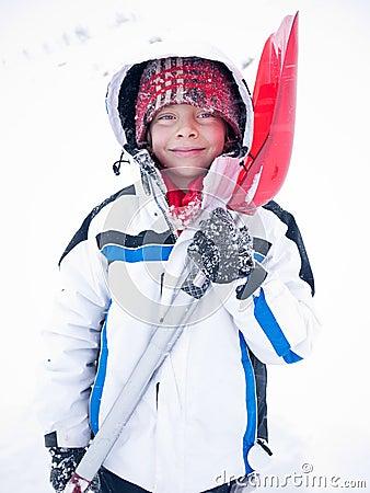 Child portrait winter snow