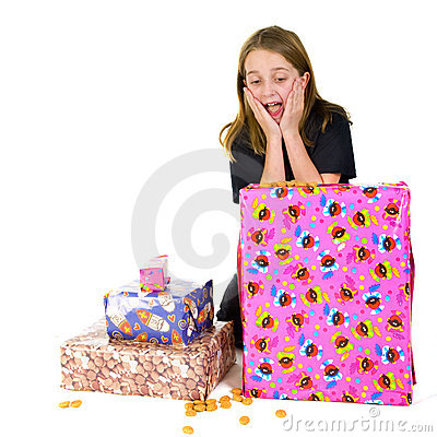 Child with presents for Sinterklaas
