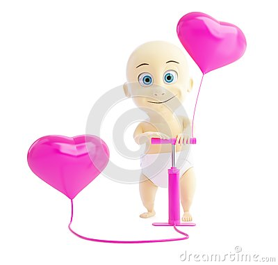 Child pump inflates balloons heart