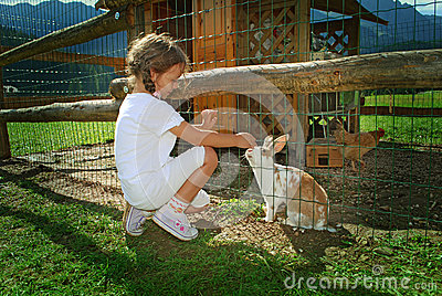 Child and rabbit