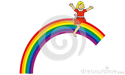 A child on a raimbow
